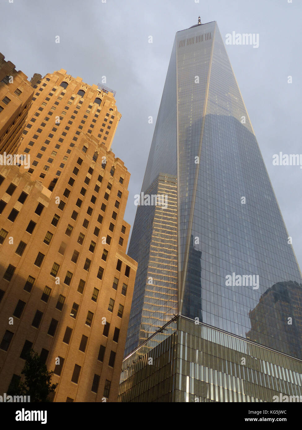 1 WTC or One World Trade Center with the World Financial Center, designed by Architect David Childs - Stock Image