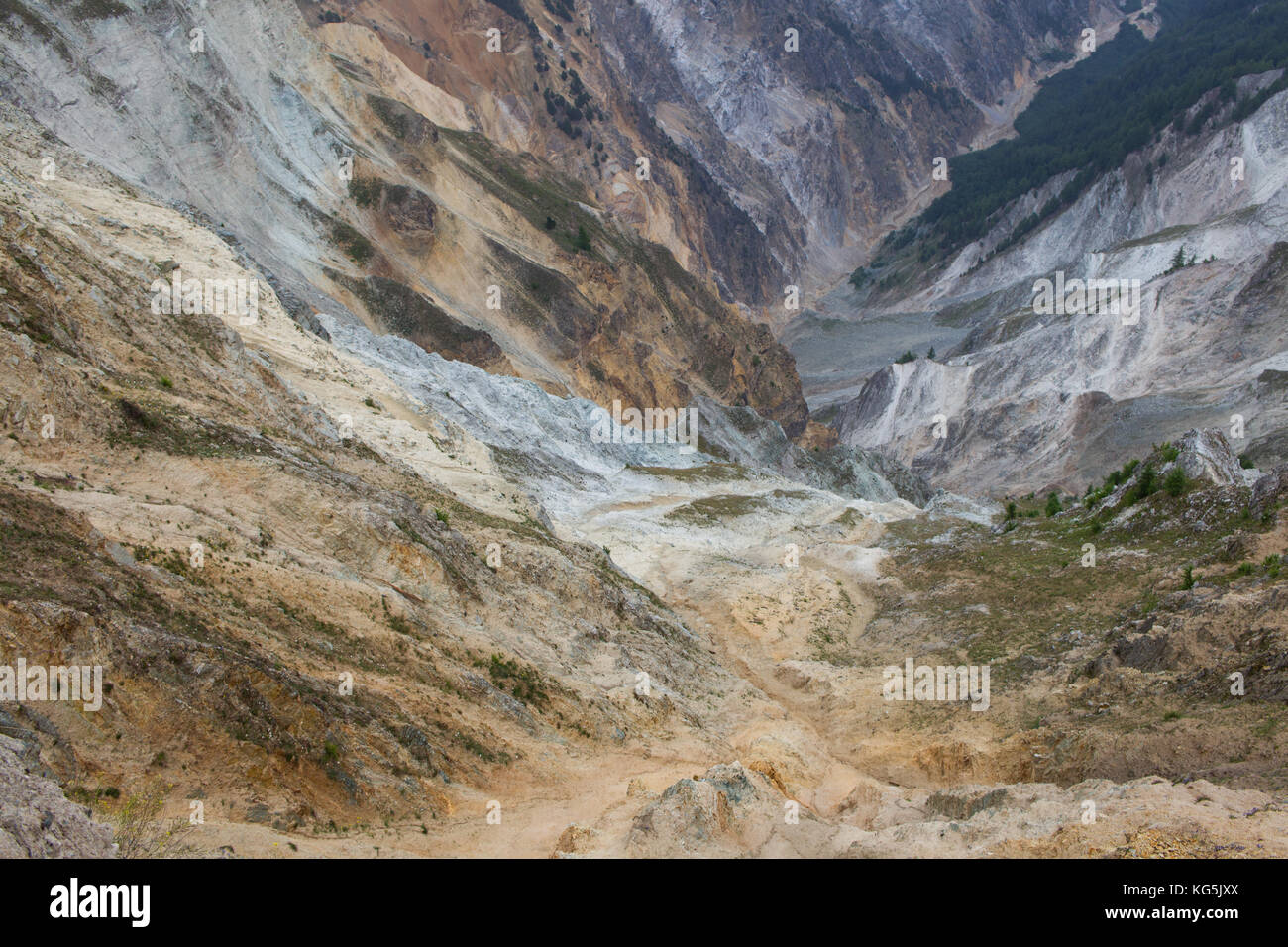 """The """"Illgraben"""" is a deep valley which is cut by debris flow through lots of rocks and mud carried with heavy rain - Stock Image"""