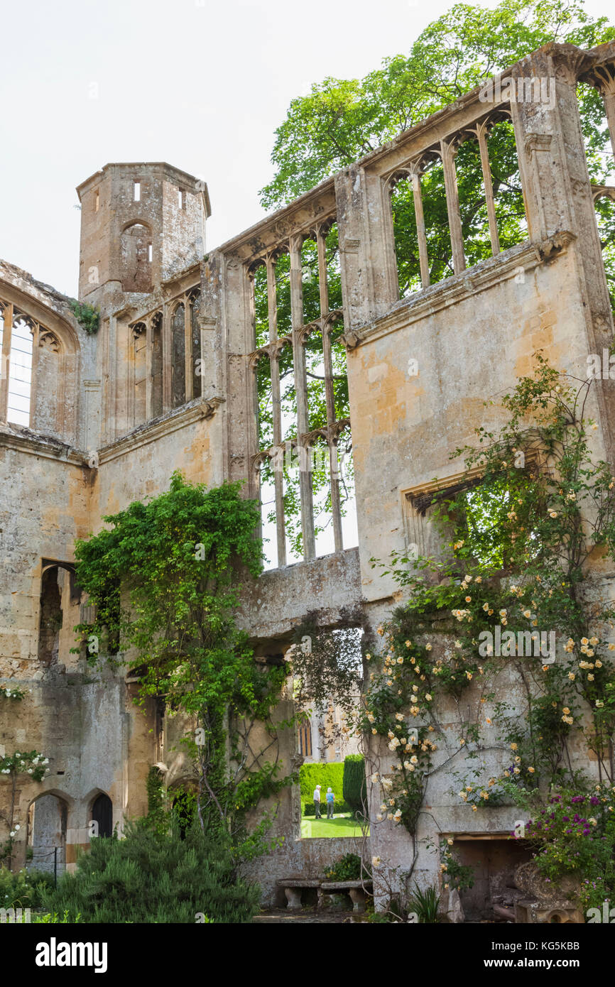 England, Cotswolds, Gloucestershire, Winchcombe, Sudeley Castle, Ruins of the Original State Apartments - Stock Image