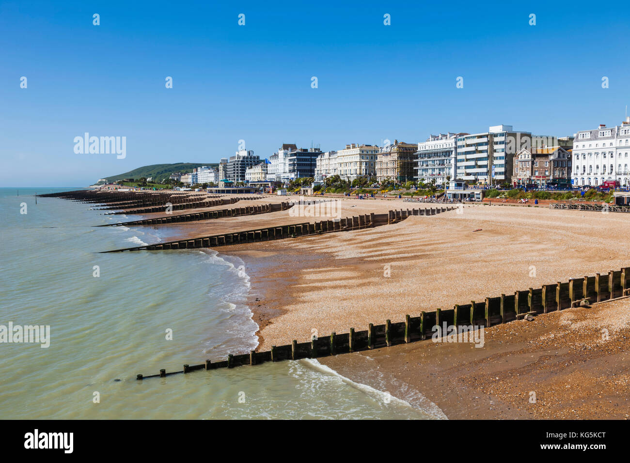 England, East Sussex, Eastbourne, Eastbourne Beach and Town Skyline - Stock Image