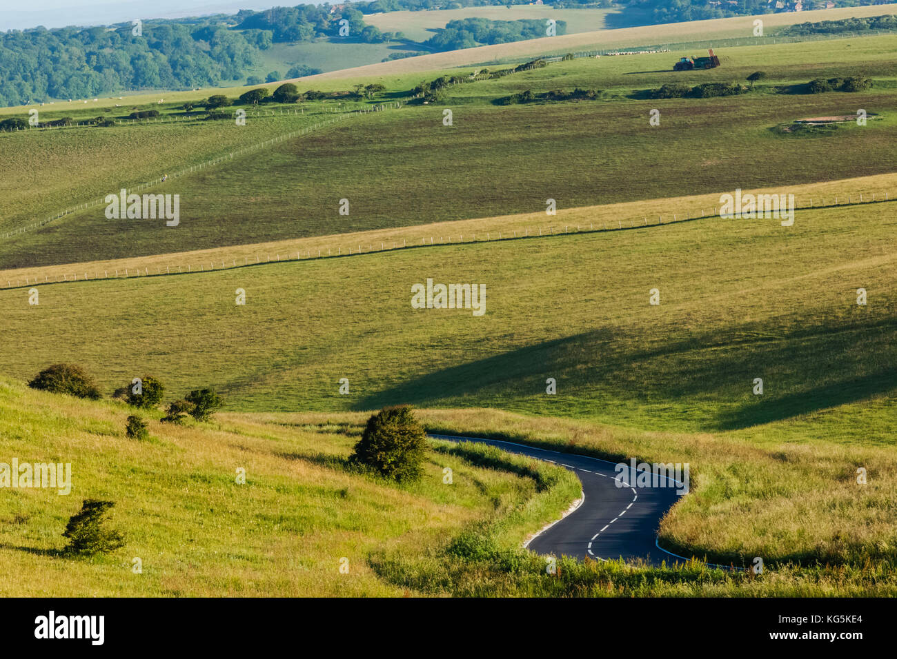 England, East Sussex, Eastbourne, South Downs National Park, Empty Road - Stock Image