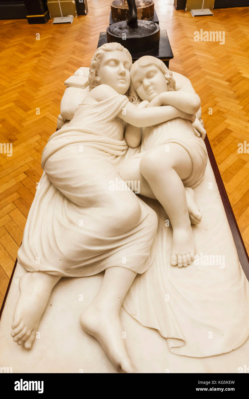 England, Dorset, Bournmouth, The Russell Coates Art Gallery and Museum, Marble Sculpture of The Princes Edward and Stock Photo