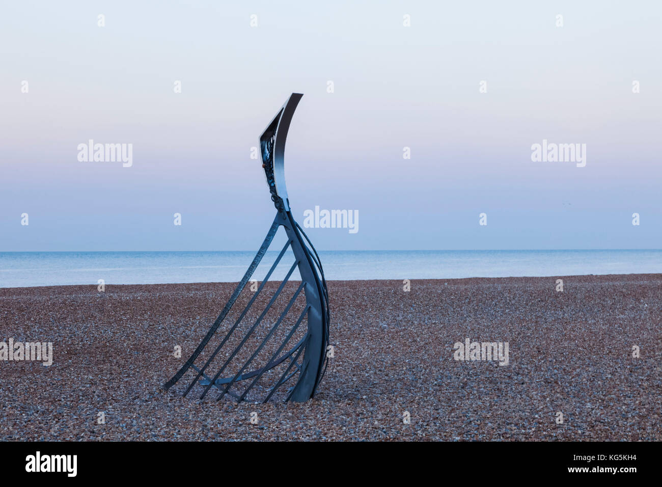 England, East Sussex, Hastings, Hastings Beach, Sculpture titled 'The Landing' by Leigh Dyer - Stock Image
