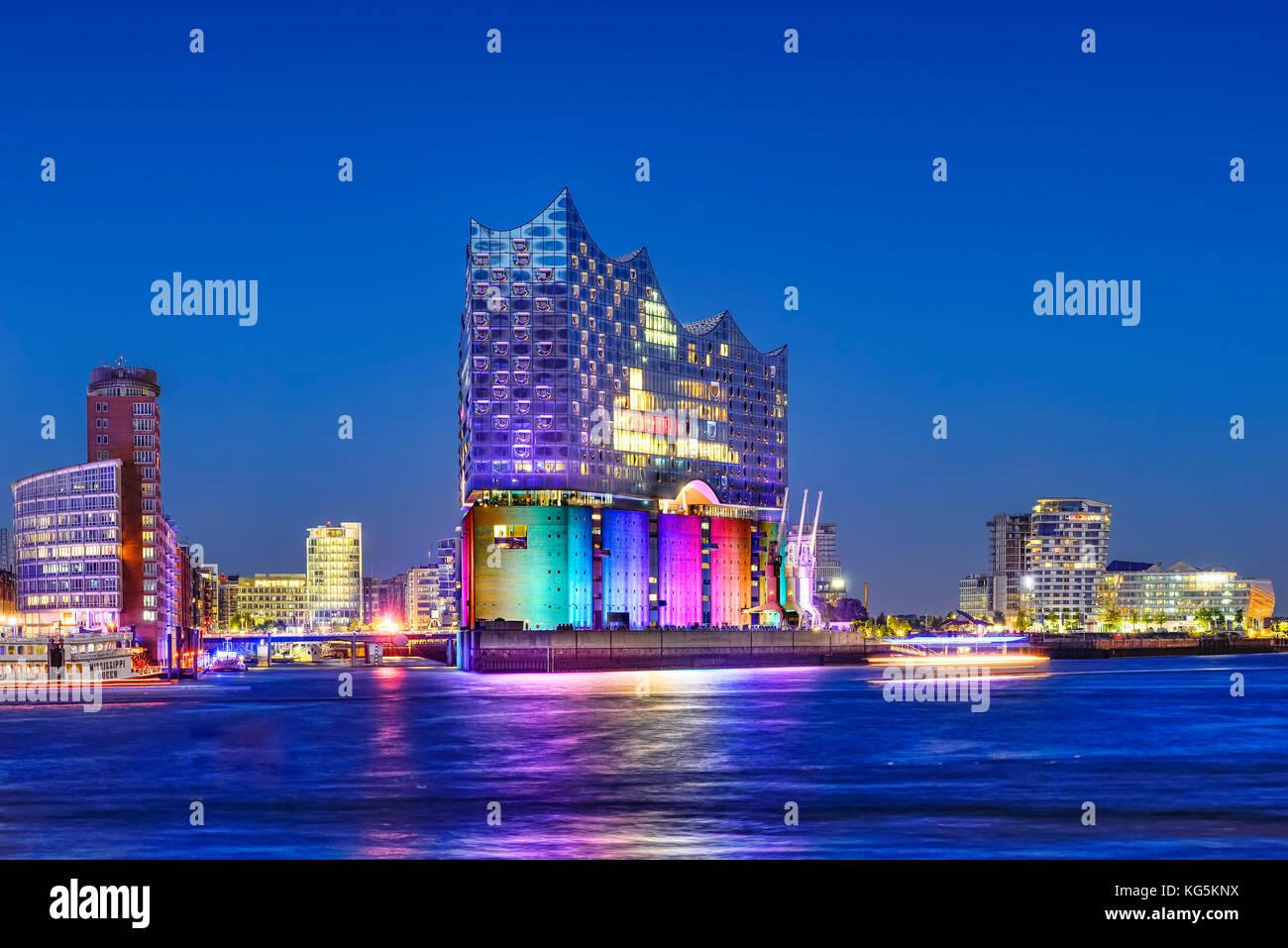 Germany, Hamburg, HafenCity, Elbphilharmonie, Imination, rainbow colors, Christopher Street Day - Stock Image