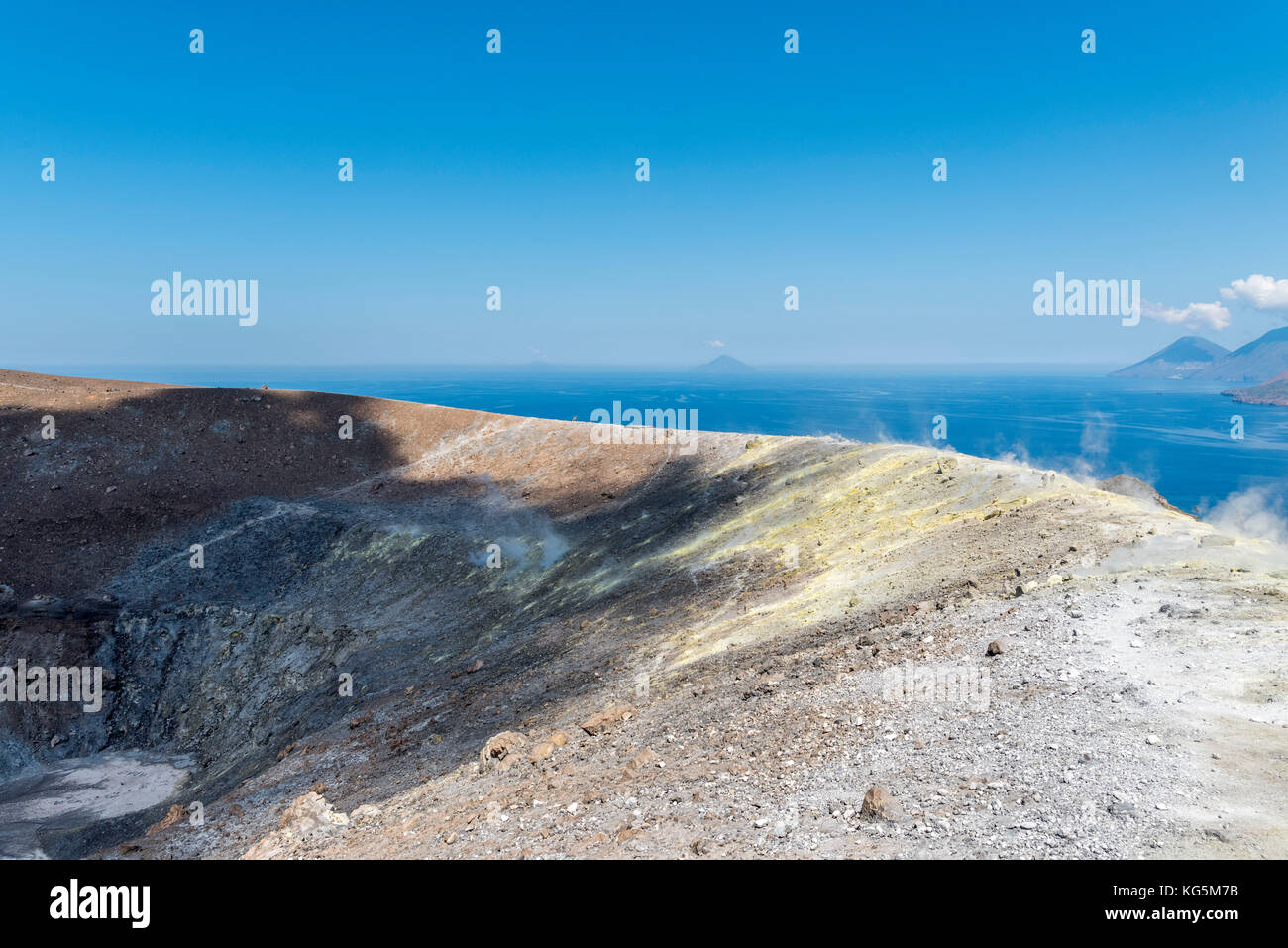 Volcano, Messina district, Sicily, Italy, Europe. Sulfur fumaroles on the crater rim of Vulcano. Stock Photo