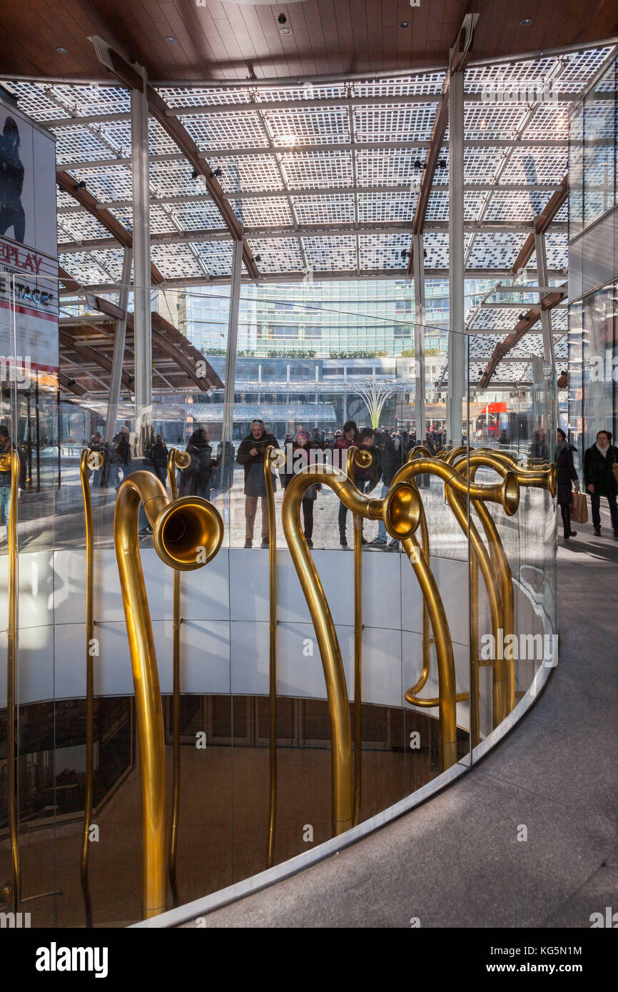Milan, Lombardy, Italy. Near Gae Aulenti square you can find these trumpets that allow two people to speak on different Stock Photo