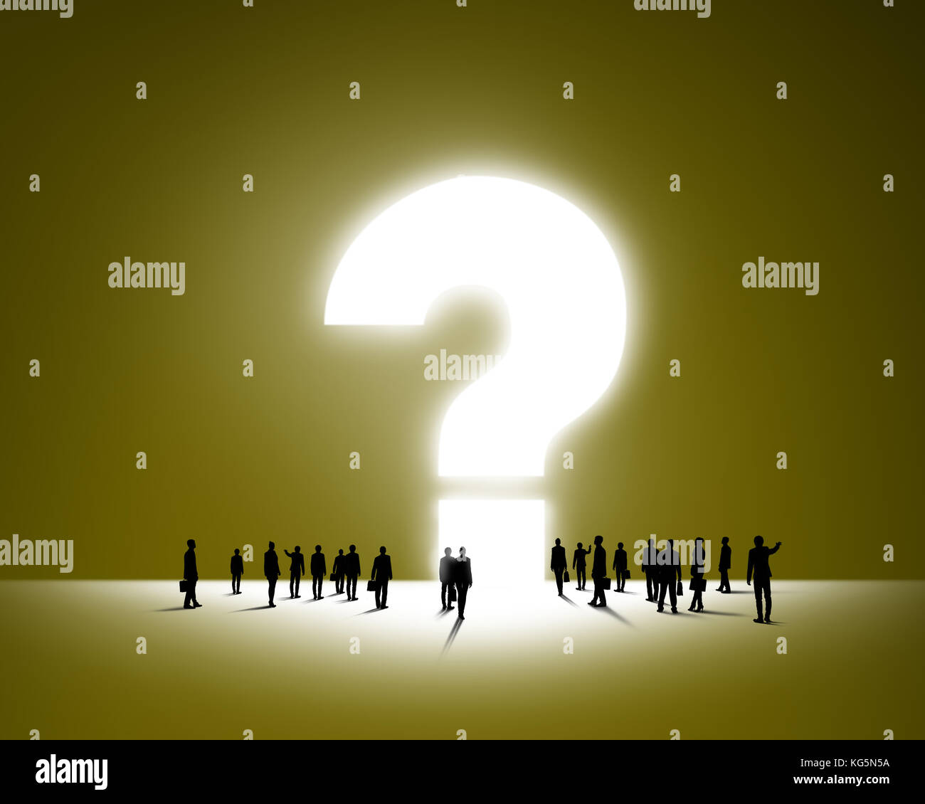 Large group of business people and big question mark Stock Photo