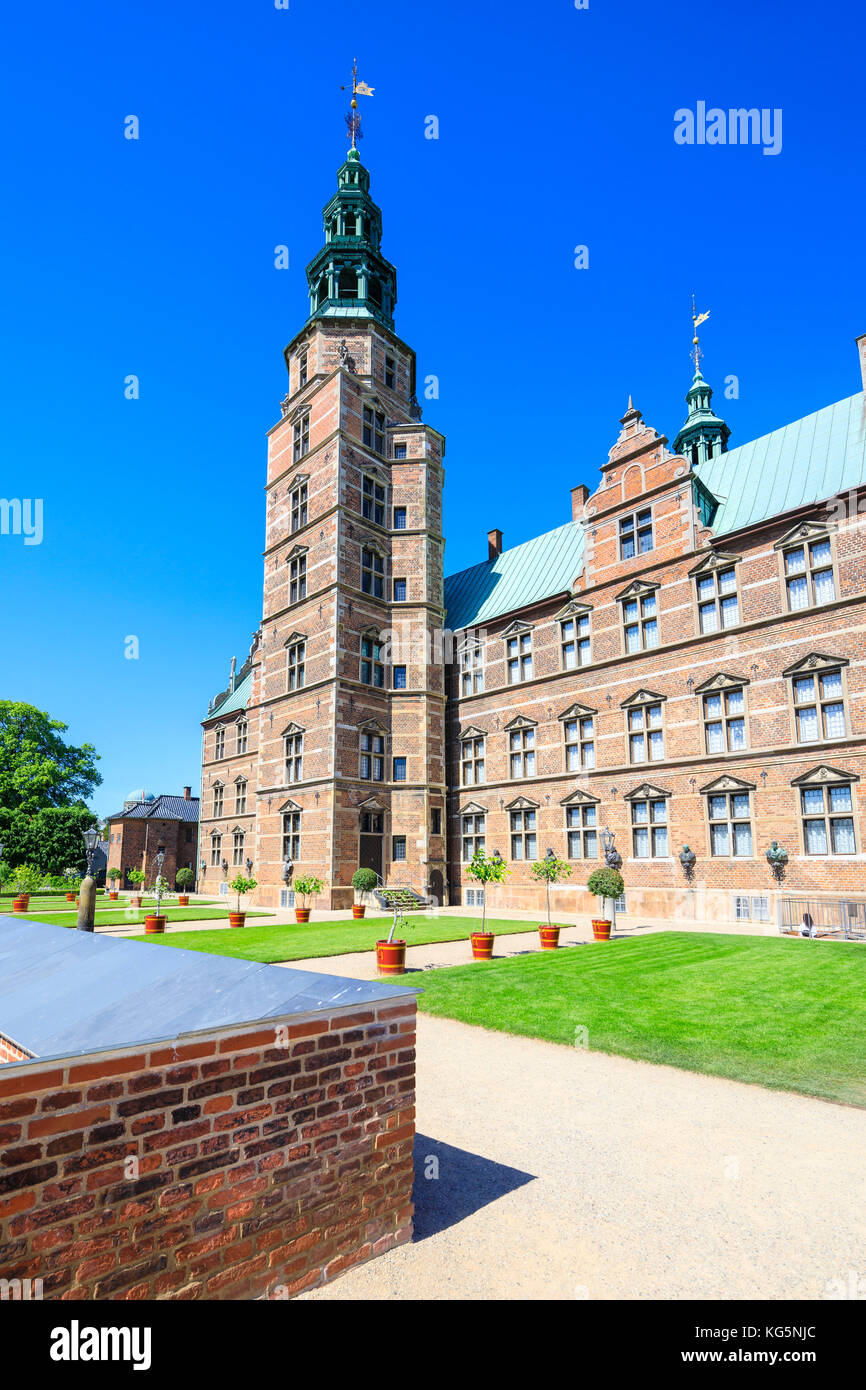 Rosenborg Castle built in the Dutch Renaissance style, Copenhagen, Denmark - Stock Image