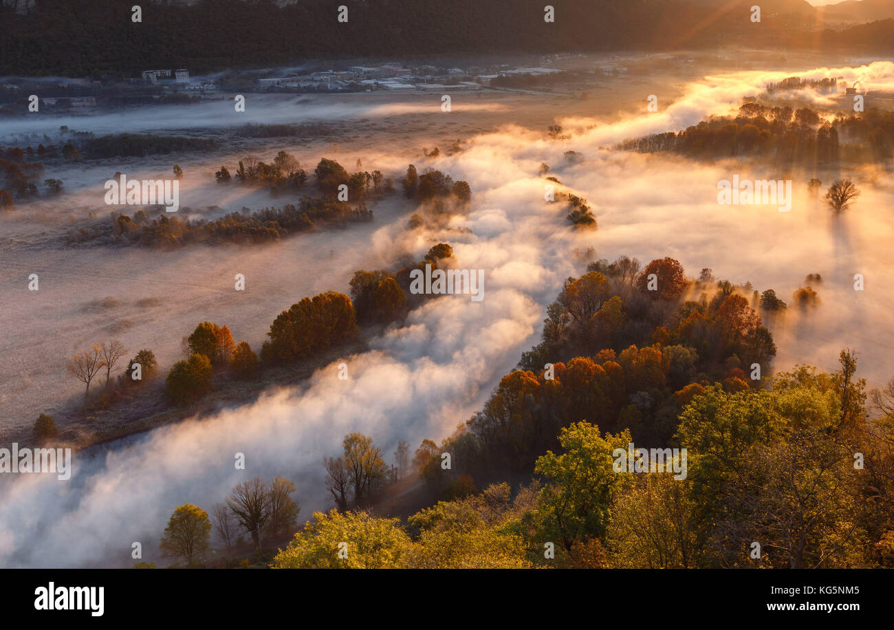 The mists of Adda river, Airuno, park Adda Nord, Lecco province, Brianza, Lombardy, Italy, Europe Stock Photo