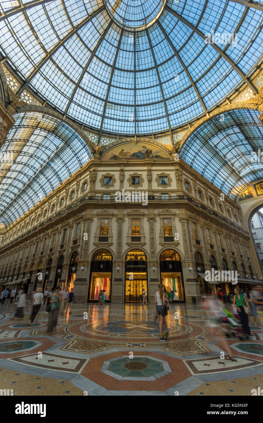 Milan, Lombardy, Italy. Classic view of Gallery Vittorio Emanuele II. - Stock Image