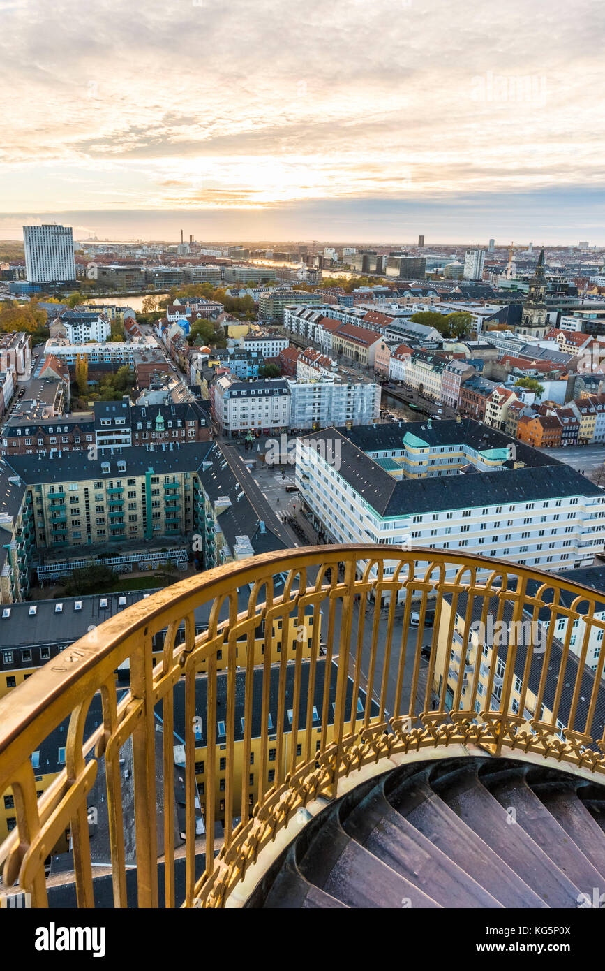 Copenhagen, Hovedstaden, Denmark, Northern Europe. High angle view of Copenhagen old town from the top of the Church - Stock Image