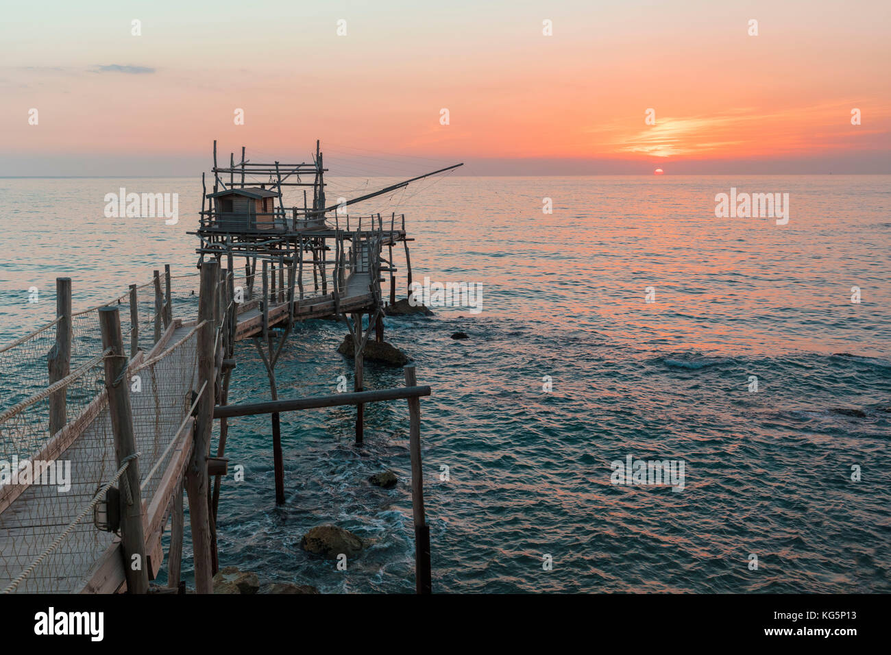 View of Costa dei Trabocchi, Trabocco is an old fishing machine typical of the coast of Abruzzo District, Adriatic - Stock Image