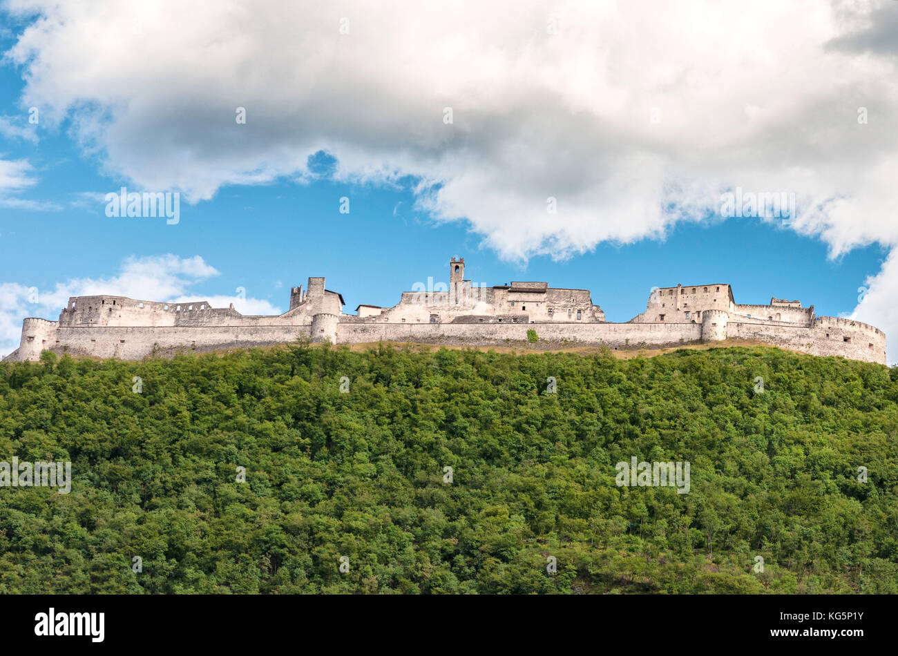 View of Castle Beseno, the largest feudal fortress all over the Trentino District, Italy - Stock Image
