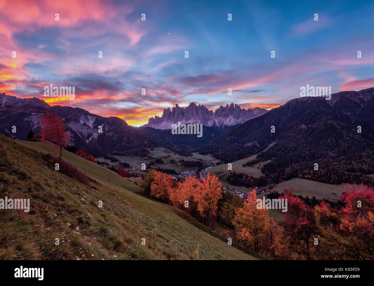 Colorful autumn trees frame the group of Odle and the village of St. Magdalena at dawn Funes Valley South Tyrol Stock Photo