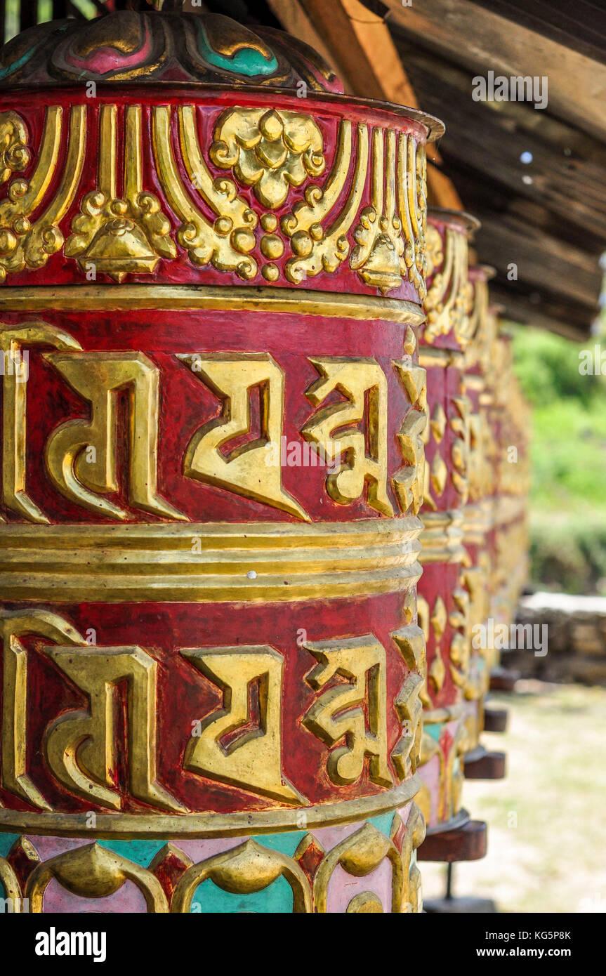 Buddhist prayer wheels, Rasuwa district, Bagmati region, Nepal, Asia Stock Photo