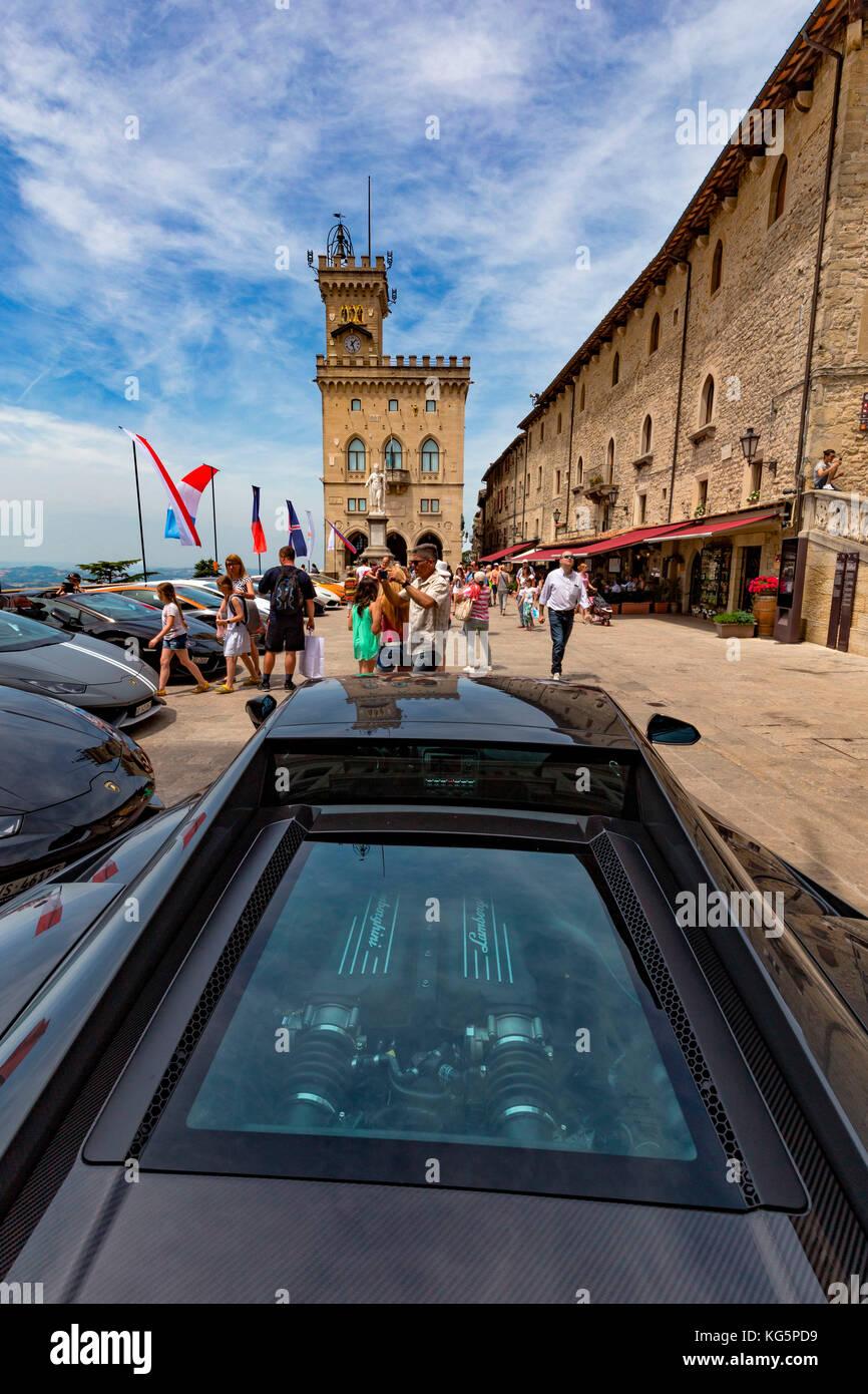 Meeting of Lamborghini in Piazza della Libertà, Republic of San Marino - Stock Image