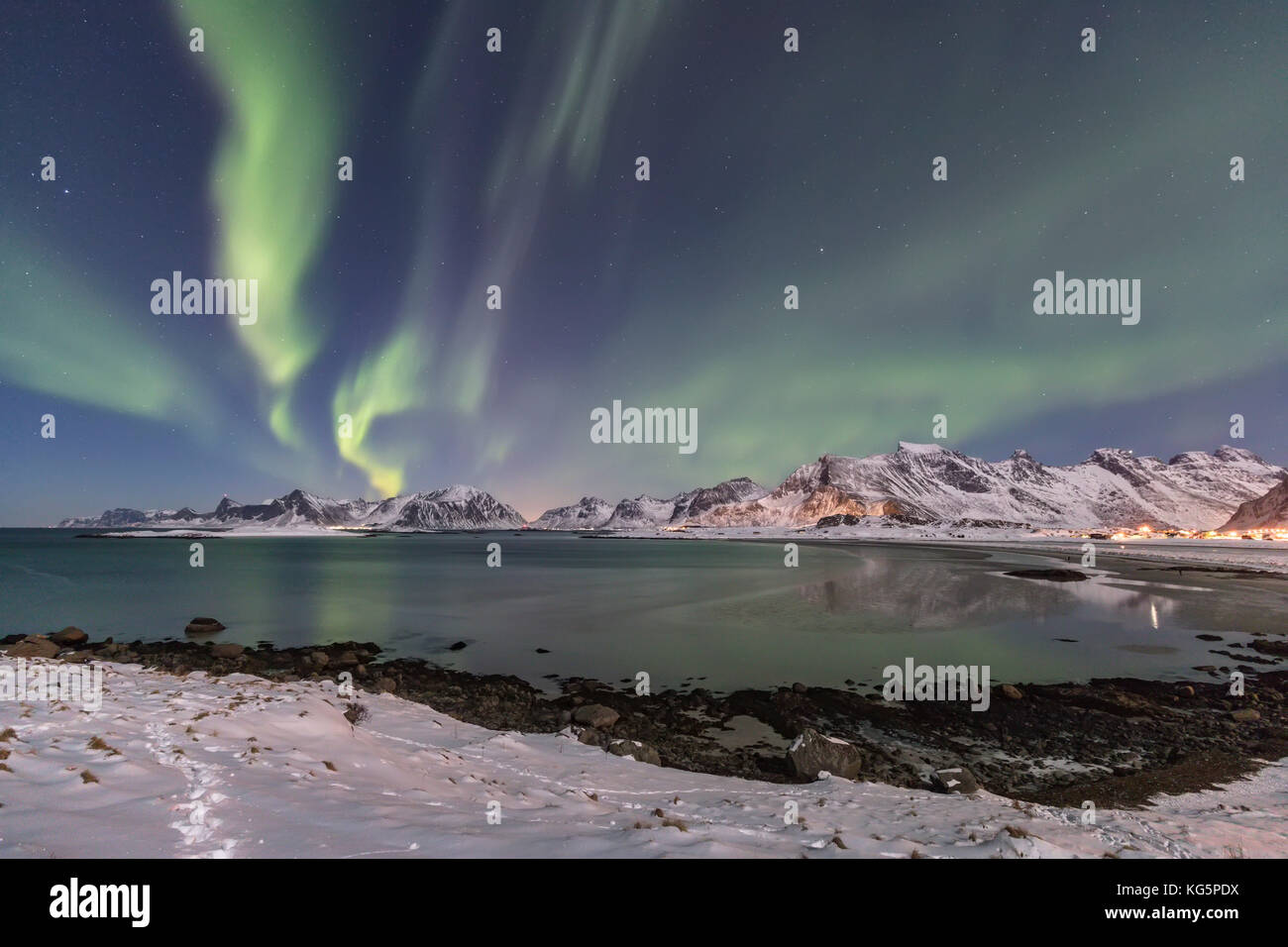 Northern light in Lofoten Islands, Norway - Stock Image