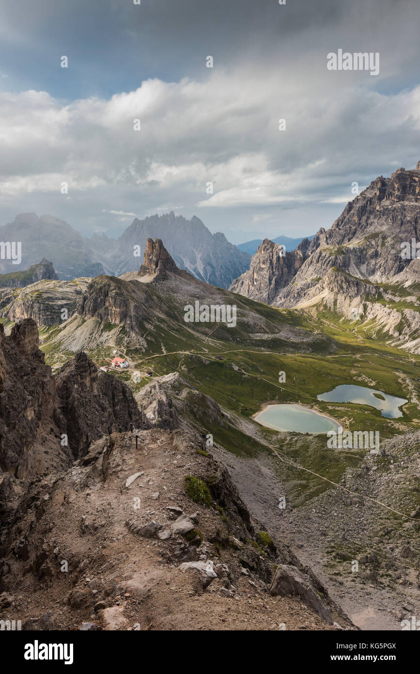 Sesto/Sexten, Dolomites, South Tyrol, province of Bolzano, Italy. View of the Ref. Locatelli, Laghi dei Piani and - Stock Image