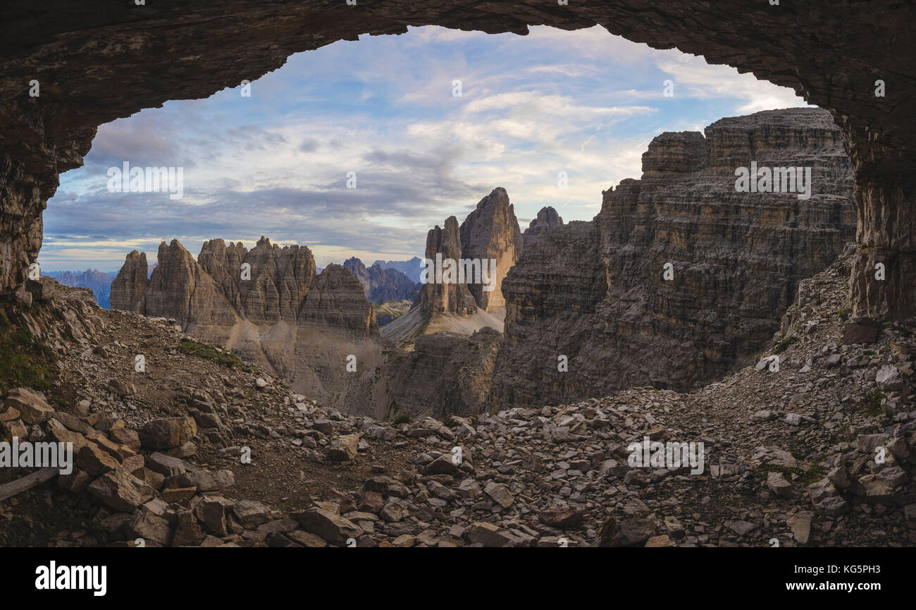 Sesto/Sexten, Dolomites, South Tyrol, province of Bolzano, Italy. View from a recovery of the First World War on - Stock Image