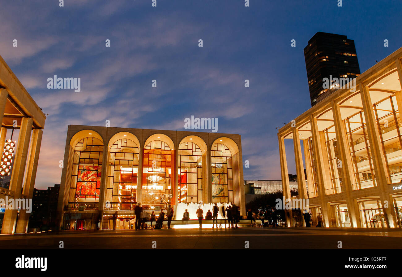 Metropolitan Opera at Lincoln Center in the evening. - Stock Image