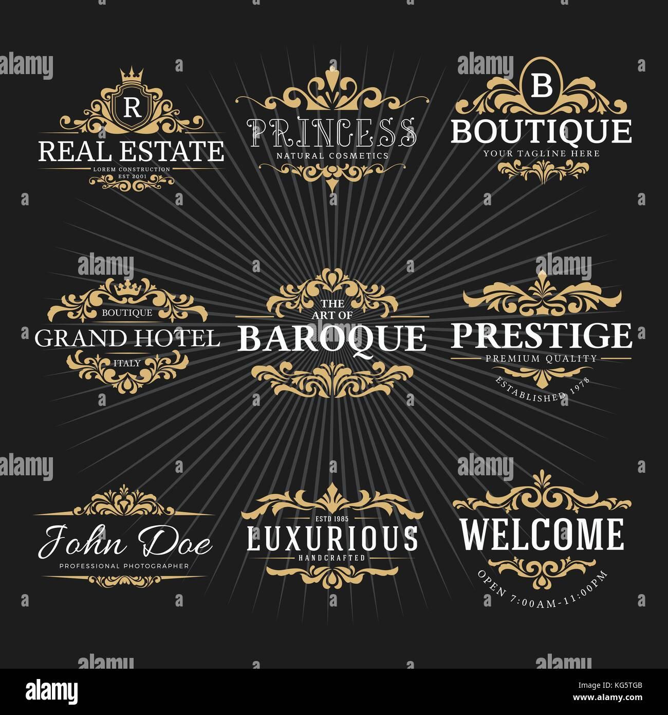 Vintage royal flourish frame logo decorative design for banner stock vintage royal flourish frame logo decorative design for banner sticker label tags invitation vector illustration stopboris Gallery