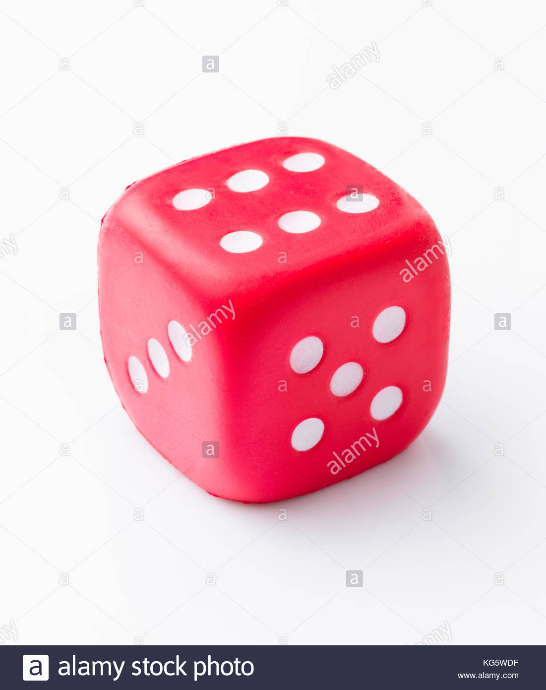red dice isolated on white background - Stock Image
