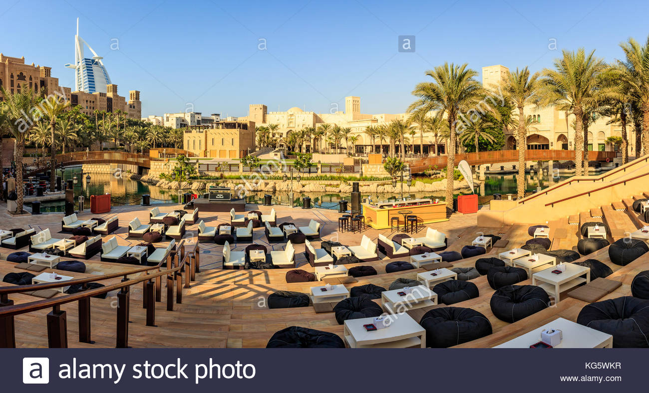 A panoramic view of Madinat Jumeirah amphitheatre and the famous Burj Al Arab luxurious hotel in Dubai. - Stock Image