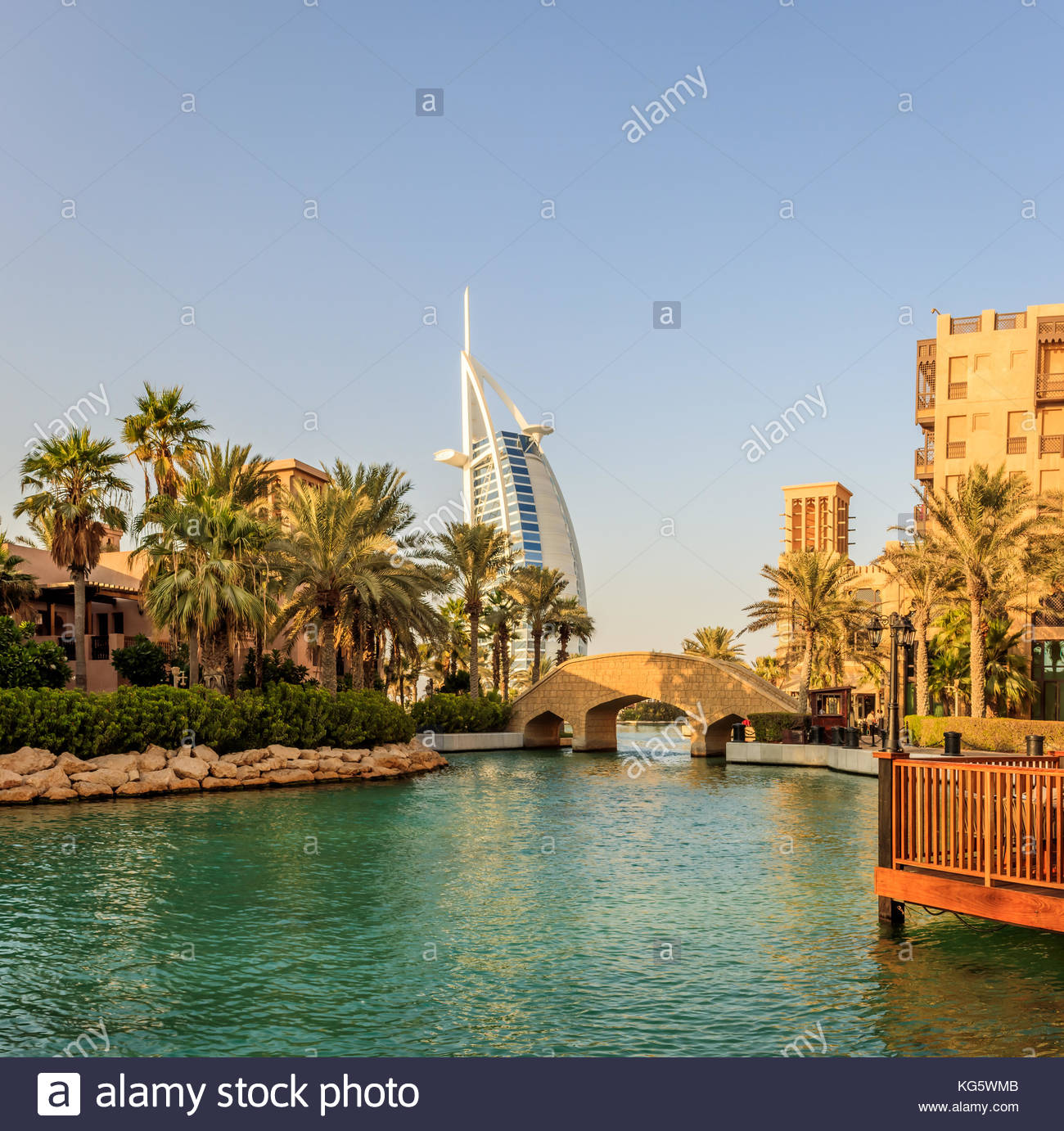 A view of Madinat Jumeirah and the famous Burj Al Arab luxurious hotel in Dubai. - Stock Image