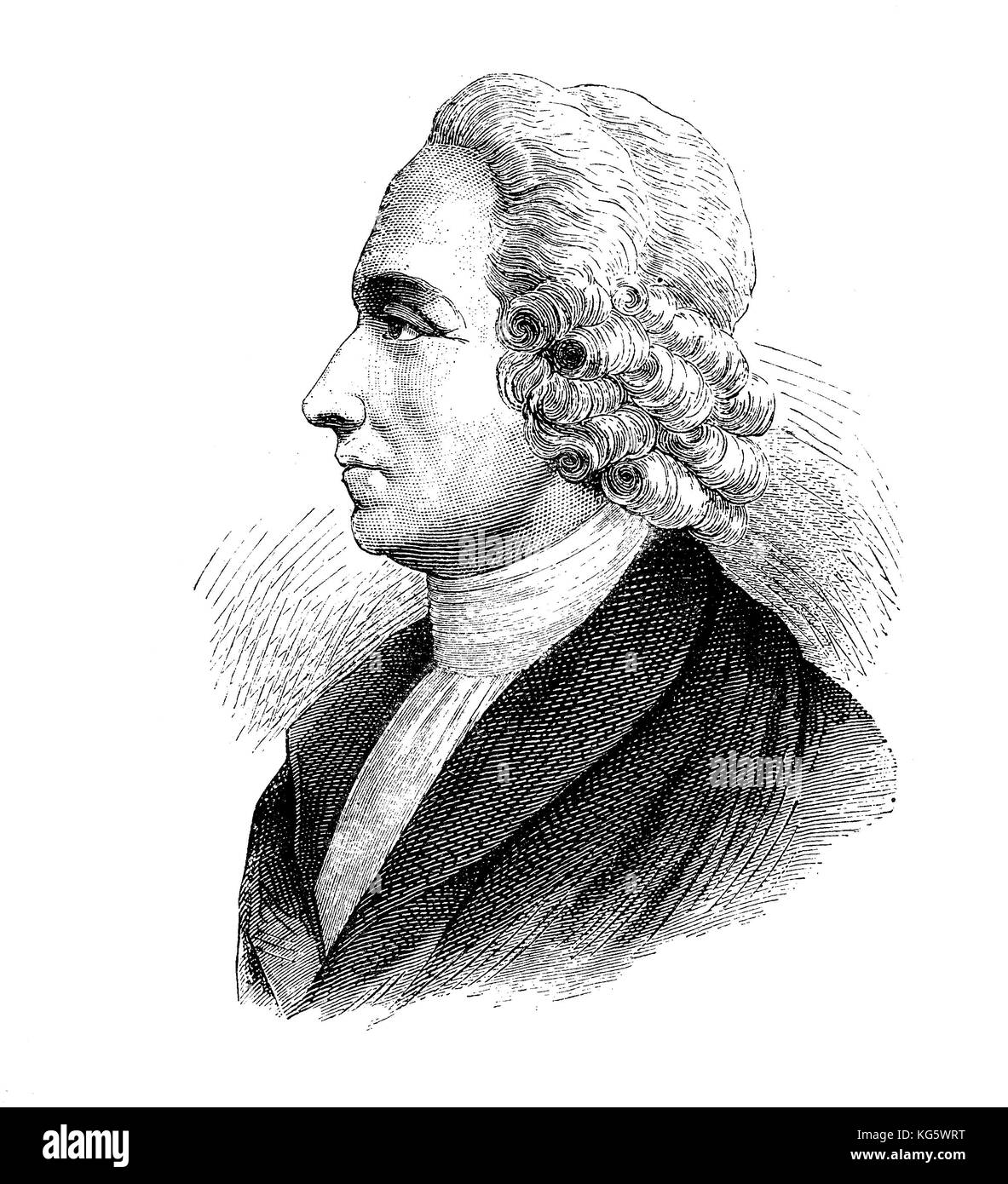 Engraving portrait of Joseph Priestley  (1733-1804) 18th-century English theologian, philosopher, chemist,isolated - Stock Image