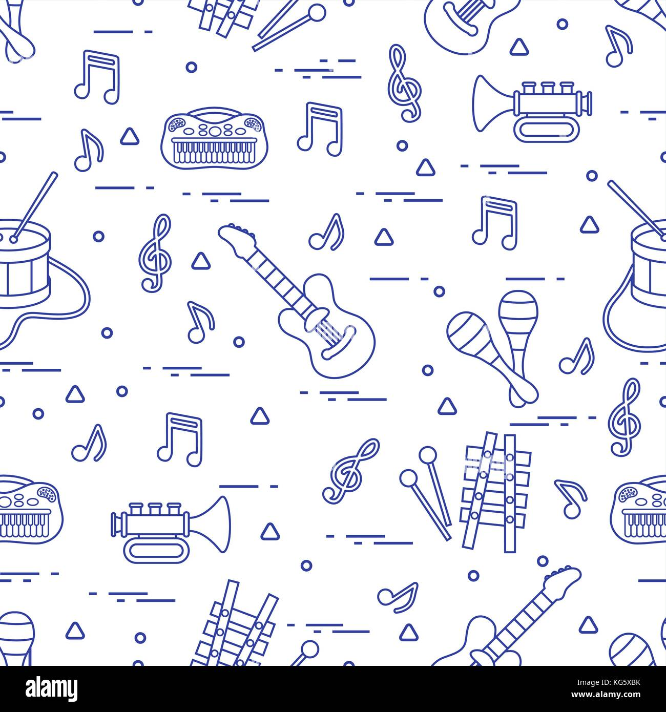 Vector Pattern Of Sheet Music And Different Musical Toys Guitar Xylophone Notes Diagram Drum Trumpet Maracas Other Design For Postcard Banner Flyer Pos