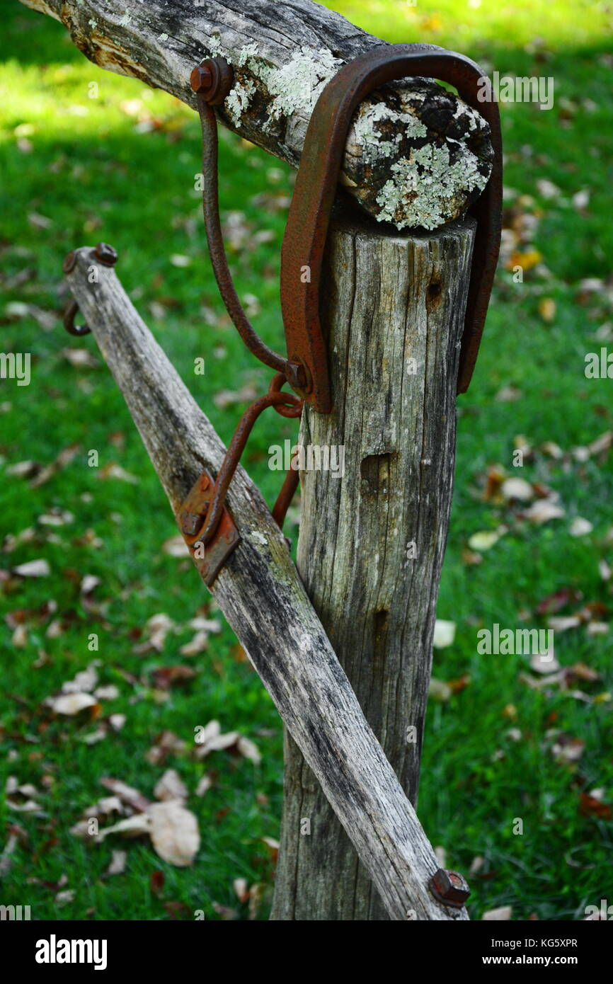 Antique horse yoke at historic Mabry Mill on the Blue Ridge Parkway in Virginia. - Stock Image