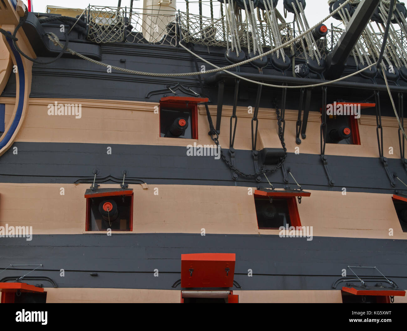 Gun Ports on HMS Victory in Portsmouth Historic Dockyard, UK Stock Photo