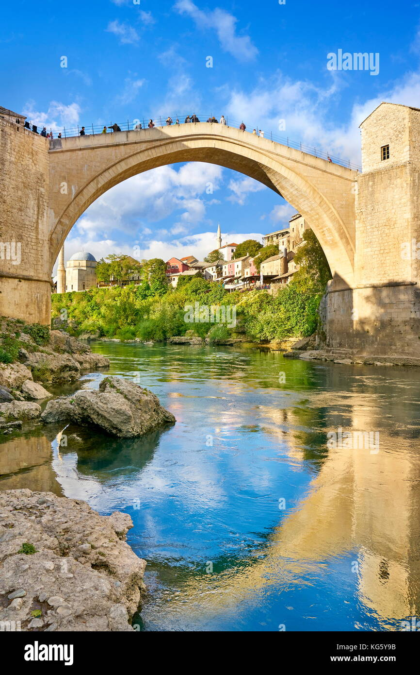 Mostar, Bosnia and Herzegovina - Stari Most or Old Bridge, Neretva River - Stock Image