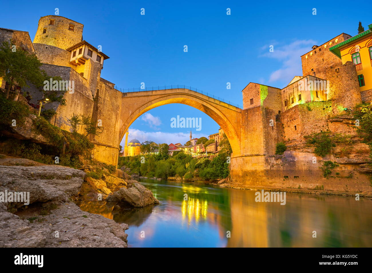 Evening view at Stari Most or Old Bridge, Neretva River, Mostar, Bosnia and Herzegovina - Stock Image
