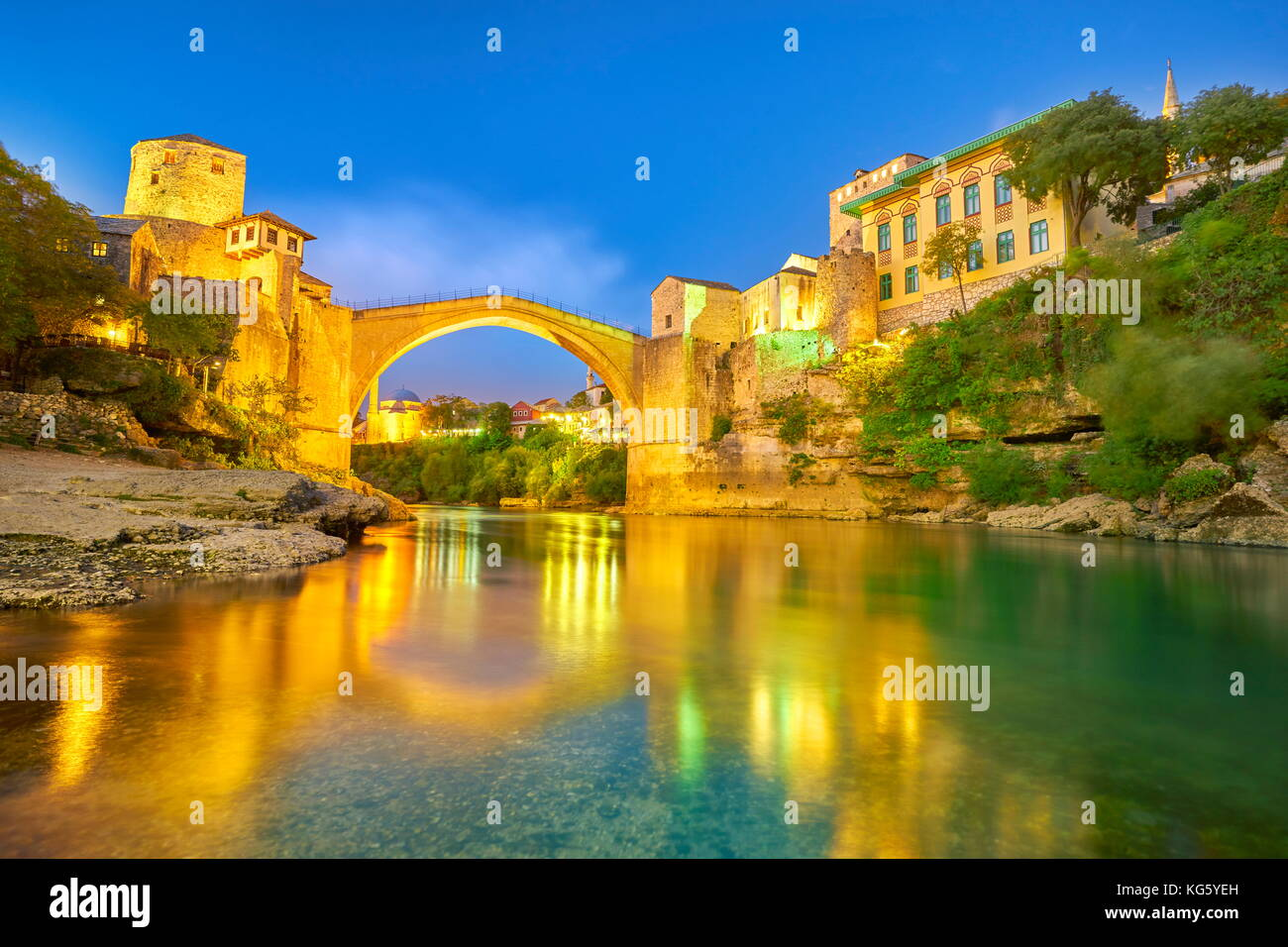 Mostar, Bosnia and Herzegovina - evening view at Stari Most or Old Bridge, Neretva River - Stock Image
