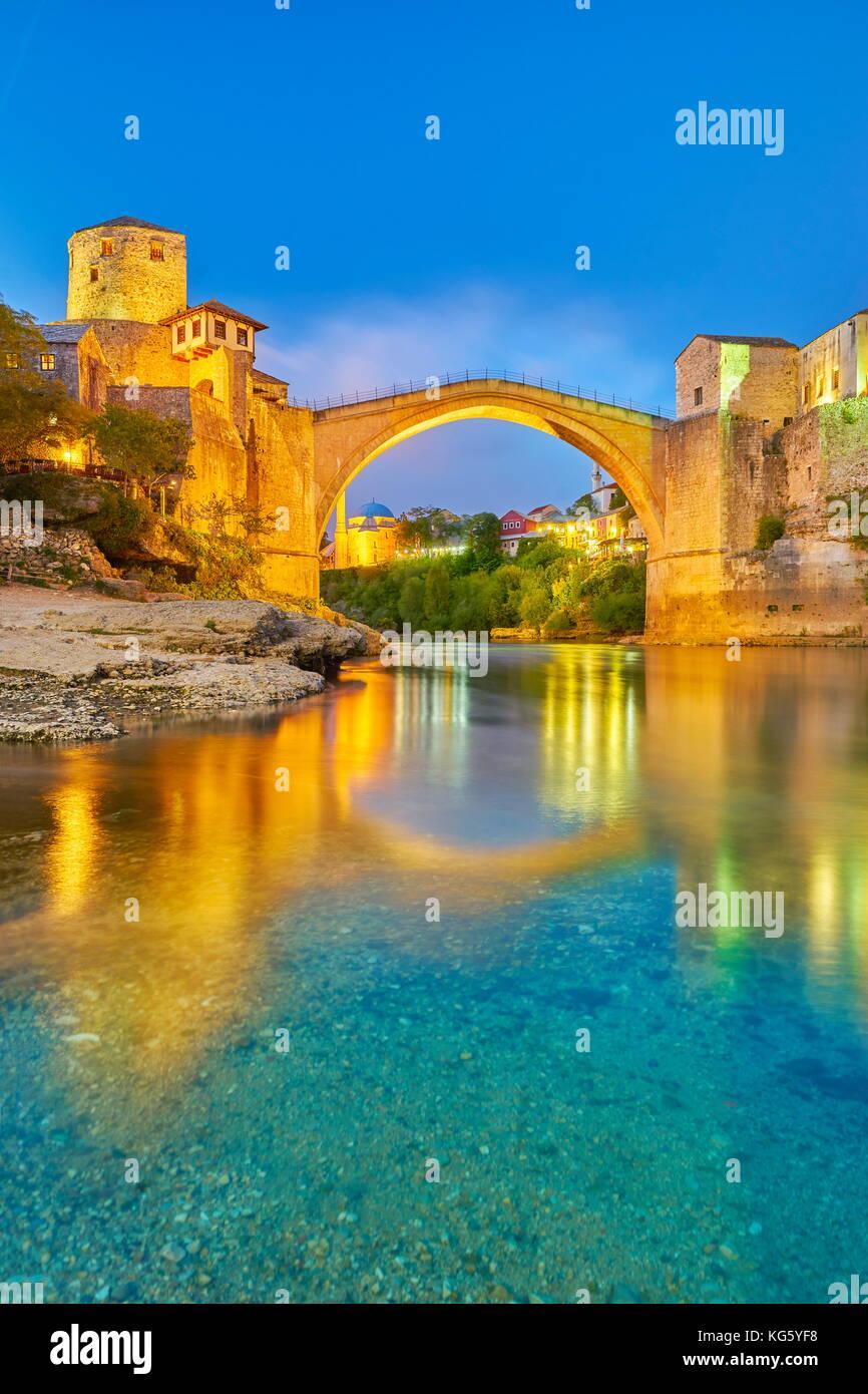 Mostar, Bosnia and Herzegovina - evening view at Stari Most or Old Bridge, Neretva River - Stock Image