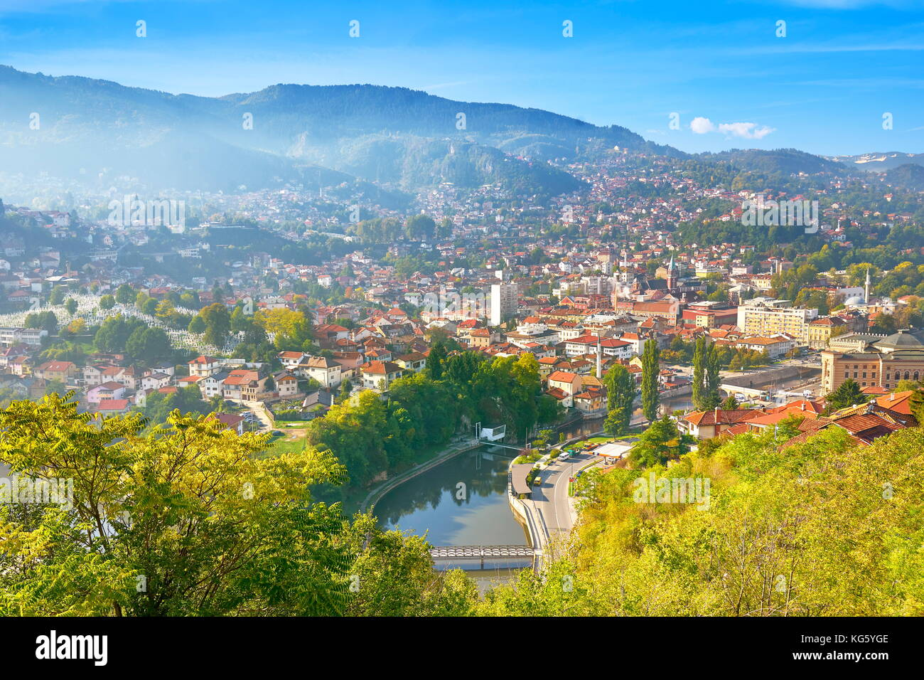 Aerial view of Sarajevo, capital city of Bosnia Herzegovina - Stock Image