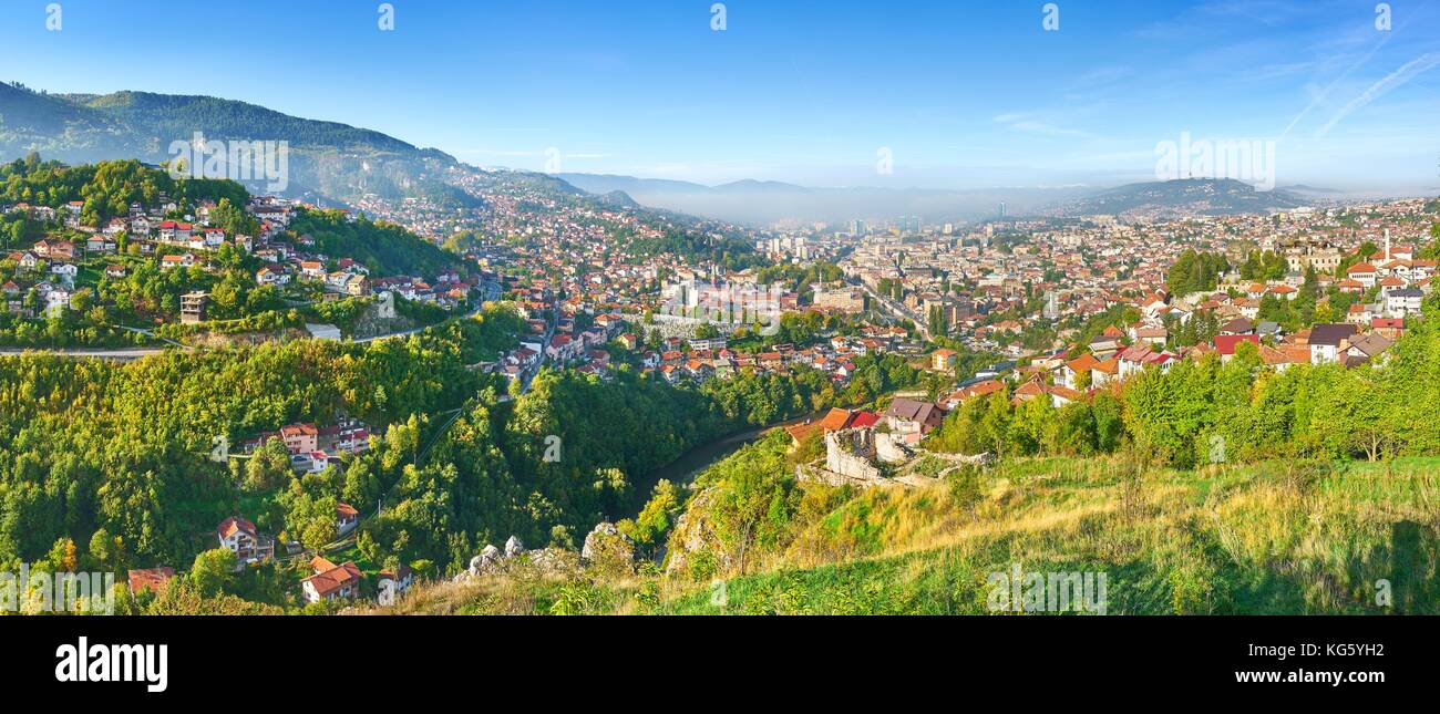 Aerial panorama view of Sarajevo, capital city of Bosnia Herzegovina - Stock Image