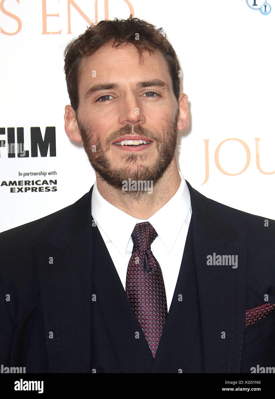 Oct 06, 2017 - Sam Claflin attending 'Journey's End' European Premiere, Odeon Leicester Square in London, - Stock Image