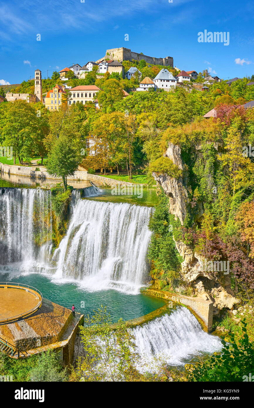 Pliva River Waterfall and castle from 14th century, Jajce town, Bosnia and Herzegovina - Stock Image