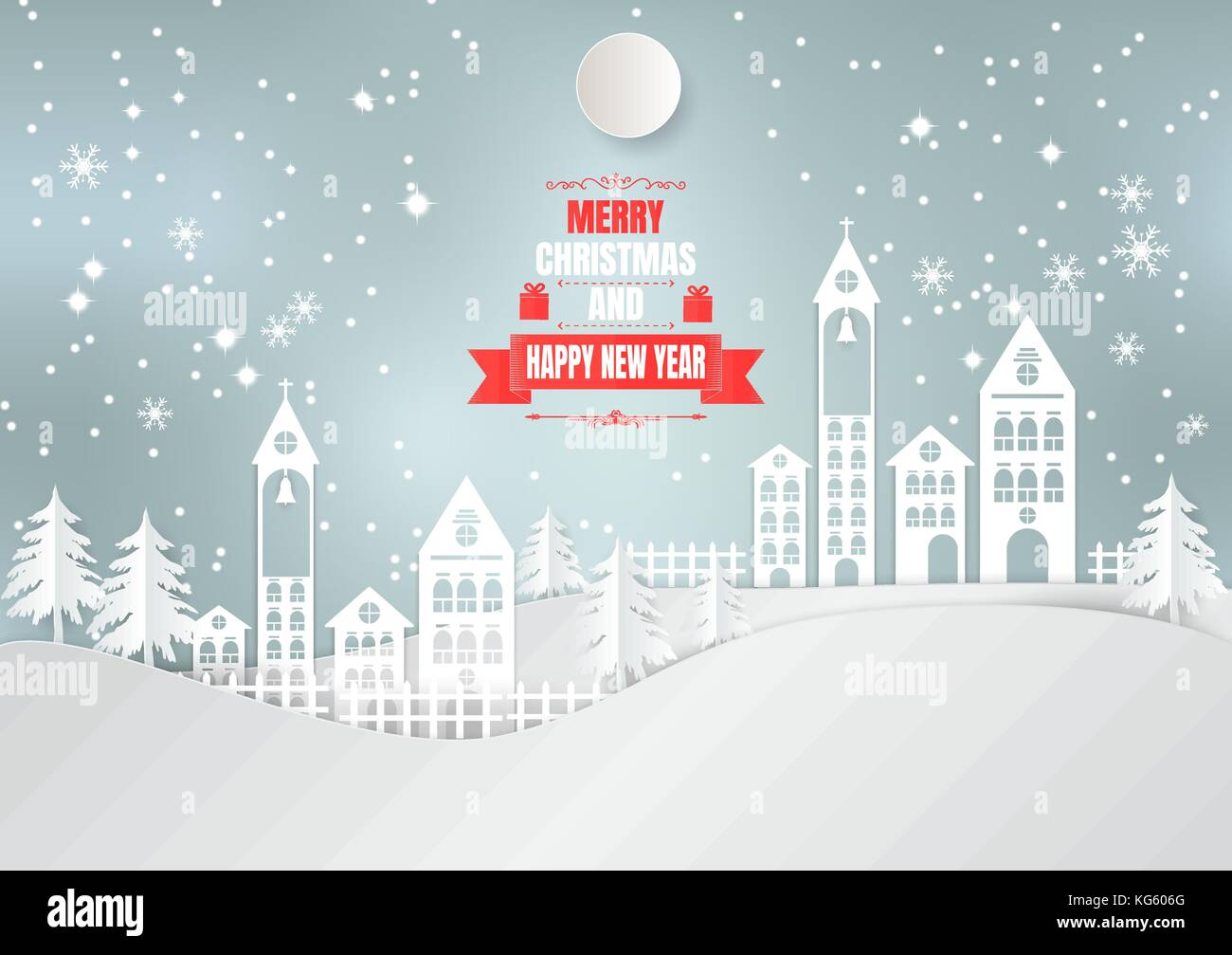 Paper art style, City for Christmas Season with Snowflake and tree. vector illustration - Stock Image