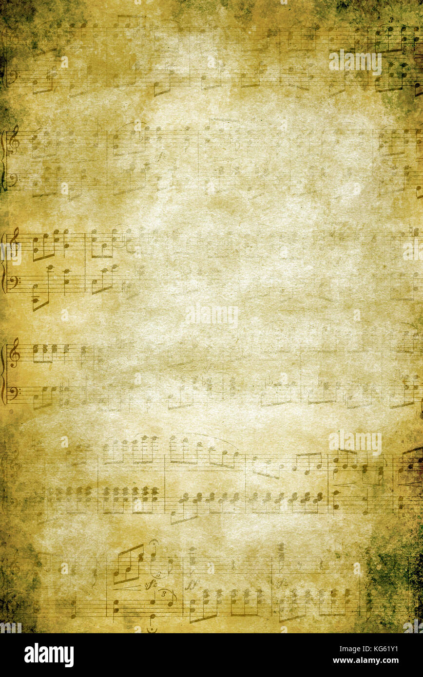 grunge background with fading music notes - Stock Image