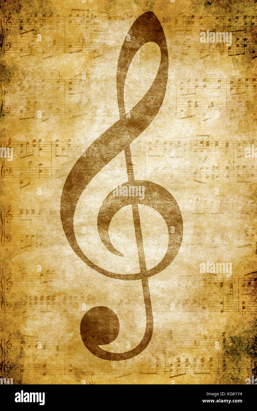 music clef and fading notes - Stock Image