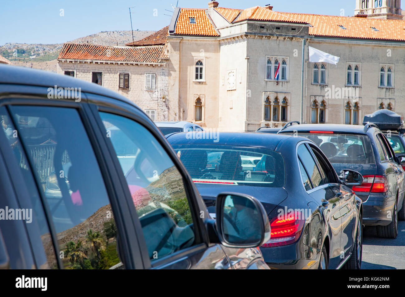 photo of the stressful traffic jam Trogir, Croatia on summertime - Stock Image