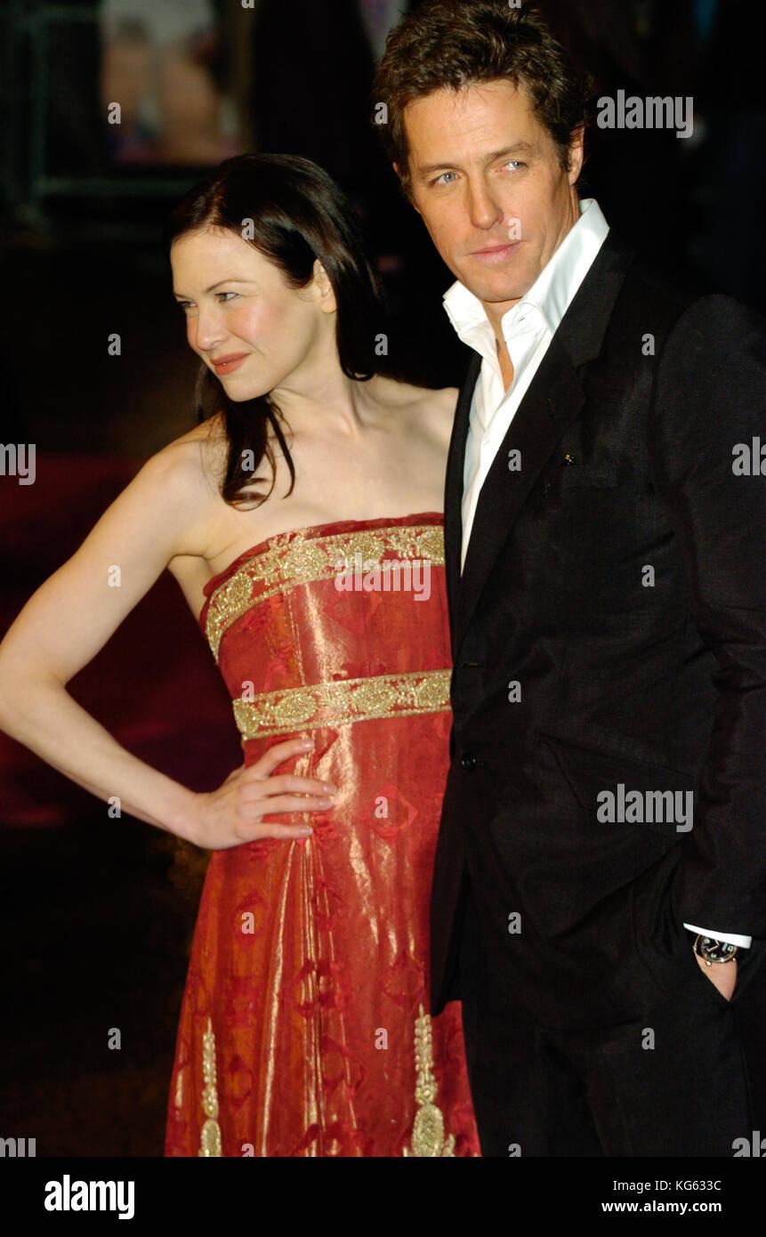 Hugh Grant and Renée Zellweger attend a London film premiere for Bridget Jones :The Edge of Reason, London - Stock Image
