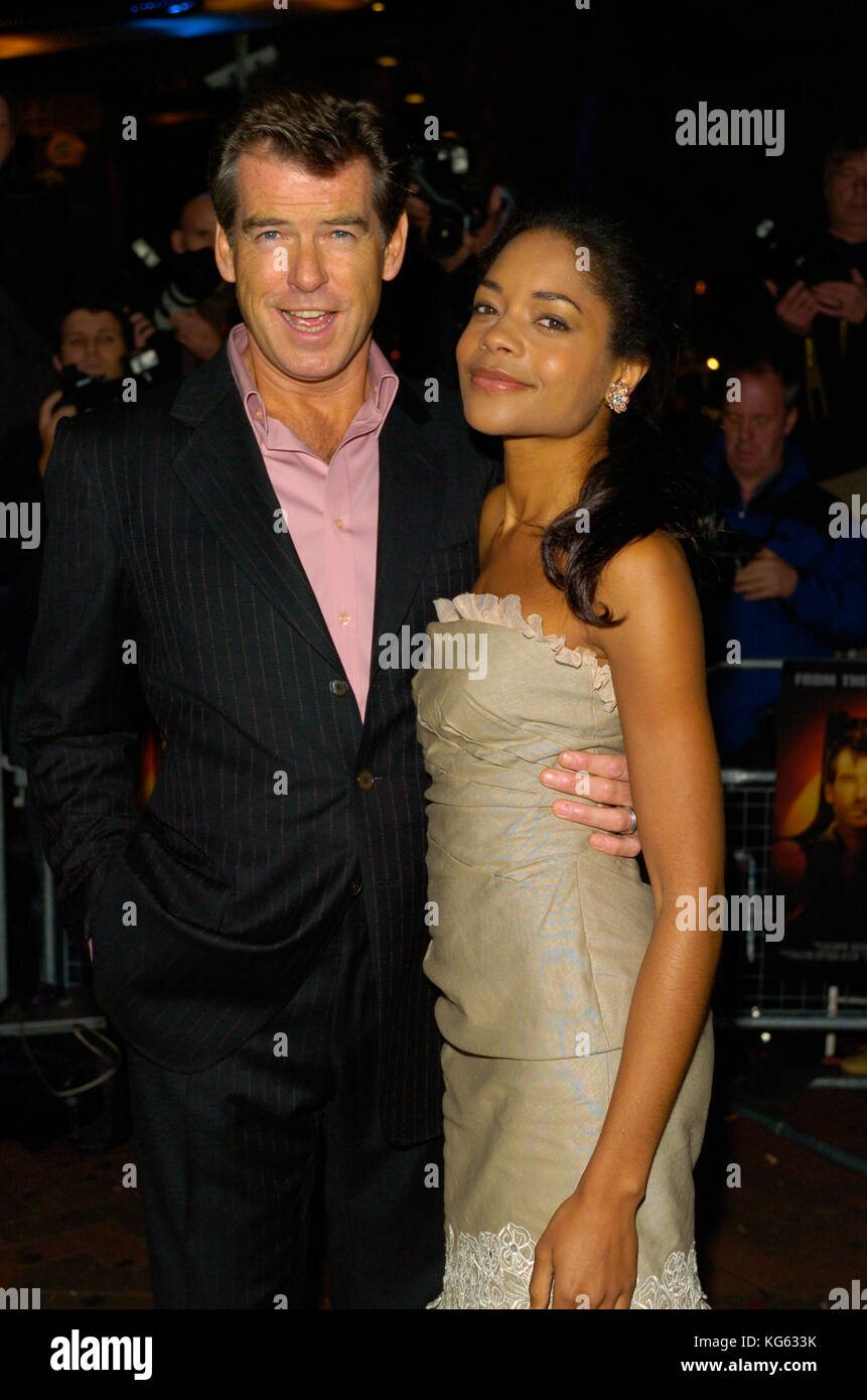 Actor Pierce Brosnan, James Bond 007 and Actress Naomie Harris Miss Moneypennny attend a London film premiere, London - Stock Image