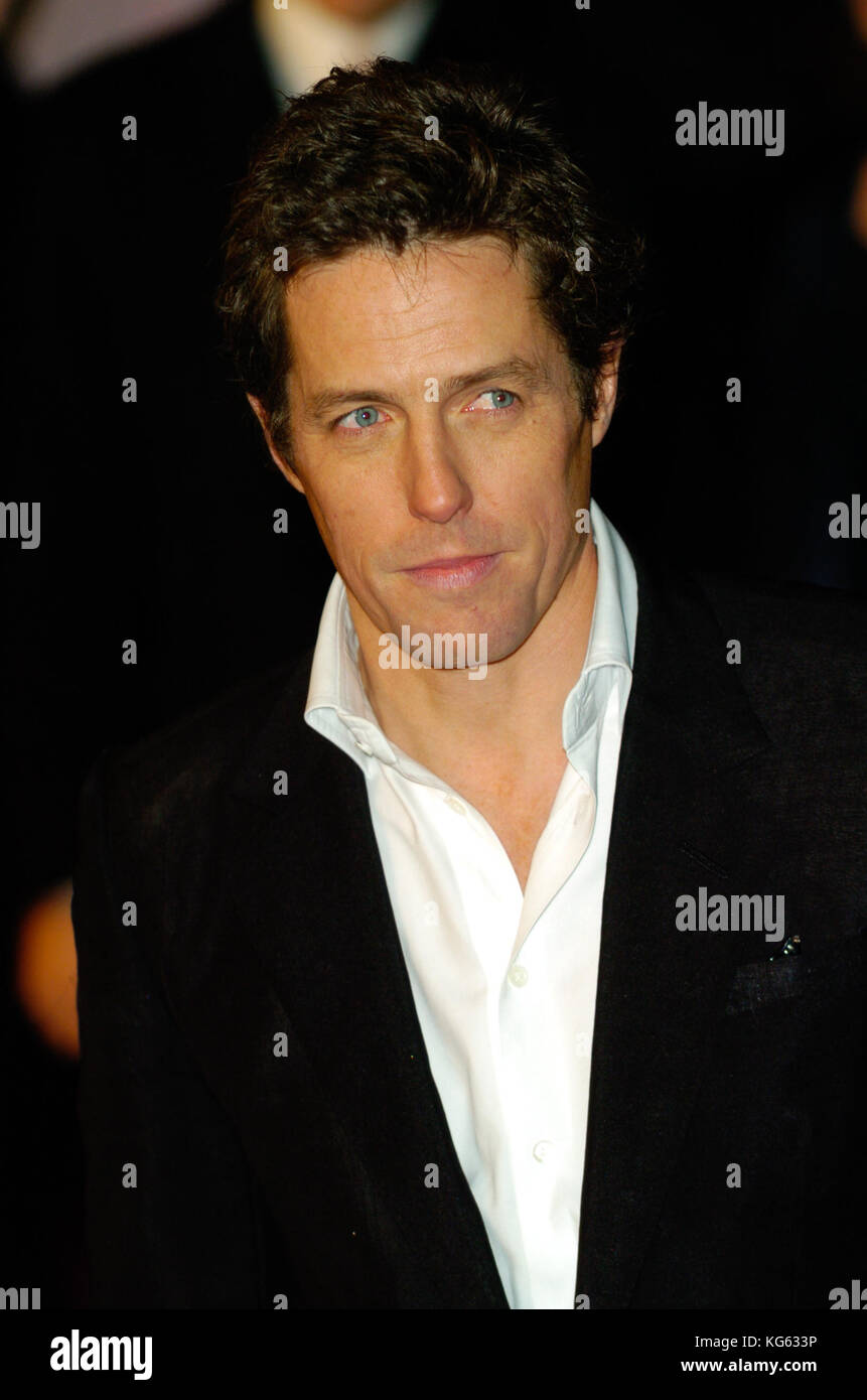 Hugh Grant, a British actor and star of the film Notting Hill attends a red carpet film premiere event in London, - Stock Image