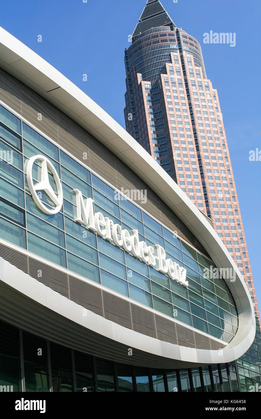 Mercedes logo at the motor show in front of the Messeturm Trade Fair Tower in Frankfurt, Hesse, Germany, Europe Stock Photo