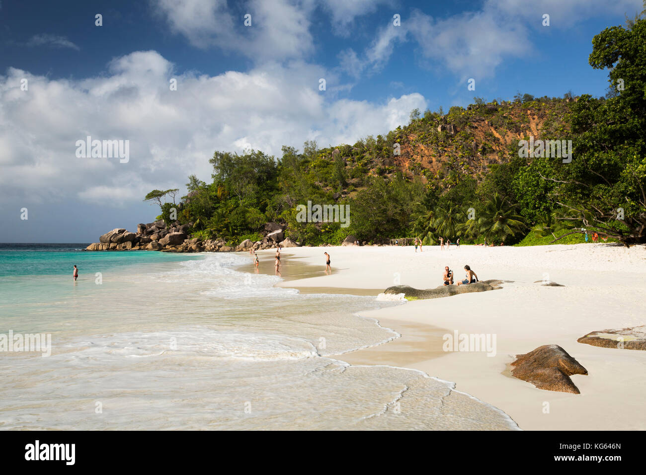 The Seychelles, Praslin, Anse Georgette, beach with access from Constance Lemuria Resort estate Stock Photo