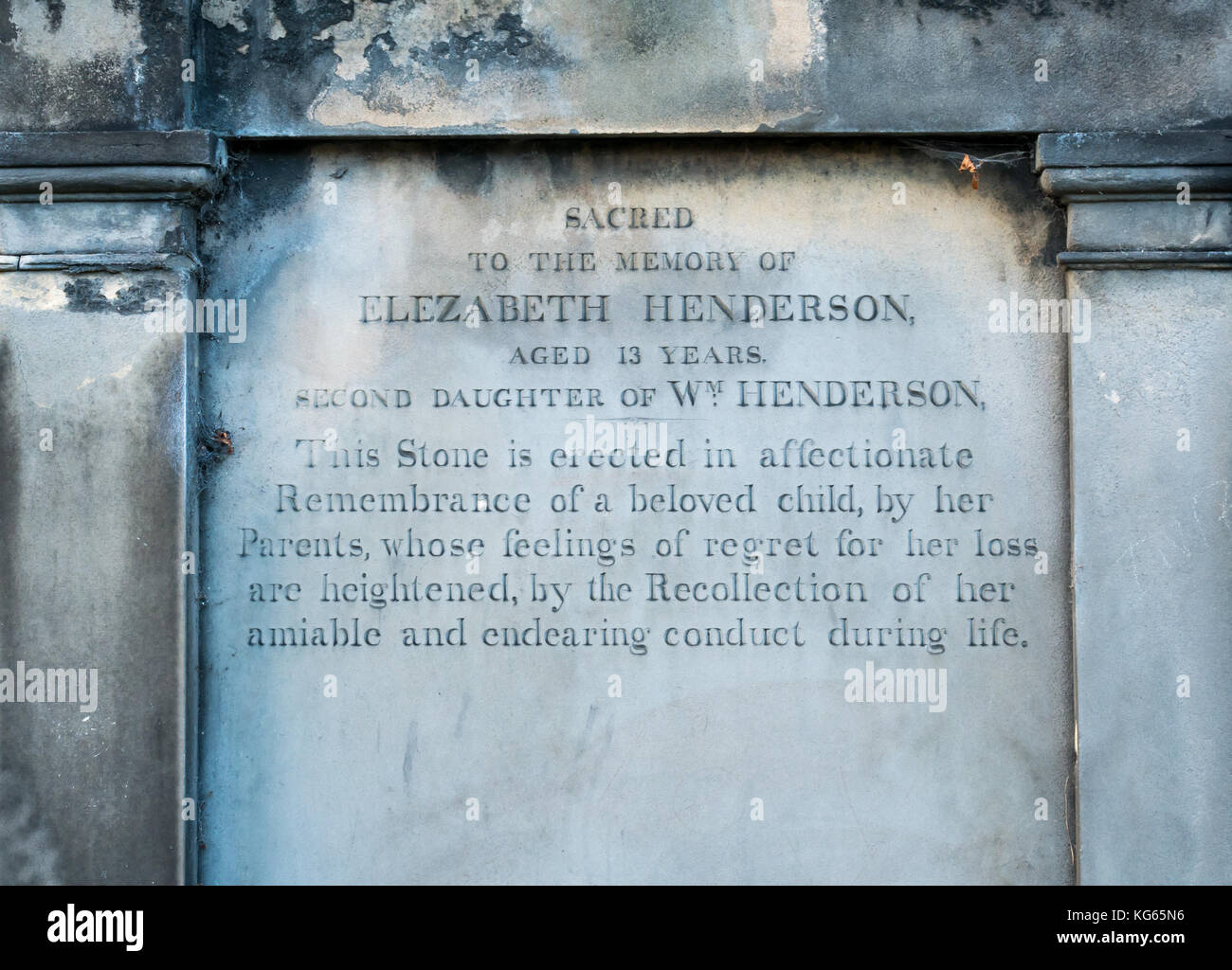 Unusual emotive gravestone inscription from parents mourning loss of daughter who died aged 13 years, Greyfriars - Stock Image